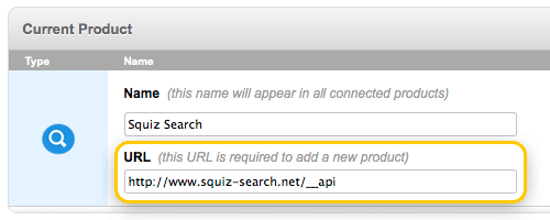The URL field on a Squiz Search system