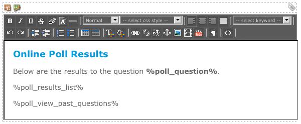 The WYSIWYG Editor on the Results Format Bodycopy